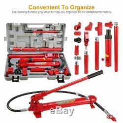 10 Ton Hydraulic Jack Air Pump Lift Porta Power Ram Repair Tool Kit Set US