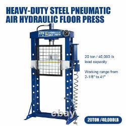 20Ton 40000lbs Steel H-Frame Air Hydraulic Garage/Shop Floor Press WithHand Pump