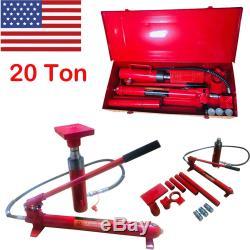 20 Ton Porta Power Hydraulic Jack Air Pump Lift Ram Repair Tool Kit Auto Body