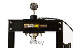 30 Ton Shop Press with Air Pump Pressure Gauge H-Frame Hydraulic Equipment 38