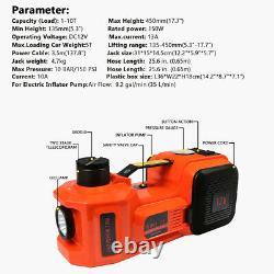 5T/11023lb Car Electric Hydraulic Jack 45CM Air Pump With Wrench & LED Light Set