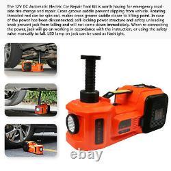 5T Car Electric Hydraulic Floor Jack with Air Inflator Pump Hammer Flashlight 45CM