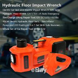 5T Lift 45cm Electric Jack Hydraulic 12V Air Pump & impact Electric Wrench Set