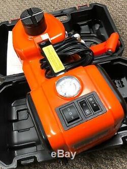 5Ton Auto Electric Hydraulic Floor Jack Lift 12V Air Compressor Pump LED Light