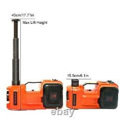 5 Ton Car Electric Hydraulic Floor Jack Air Inflator Pump LED Light 12V 3 in 1