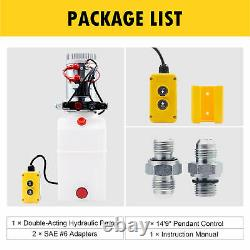6 Quart Double Acting Hydraulic Pump Dump Trailer Control Kit Car Power Unit 12V