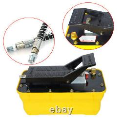 Air Hydraulic Foot Pedal Pump with10,000PSI Auto Body Frame Machines + Air Hose US