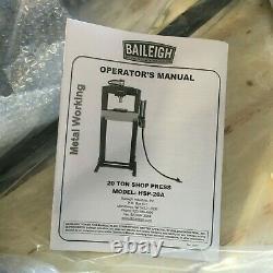 BAILEIGH INDUSTRIAL 20 ton HSP-20A Hydraulic Press Pump Type Air Frame H