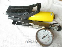 Enerpac PA133 Air Driven Hydraulic Foot Pump with GP-10S Gauge. 10,000 PSI