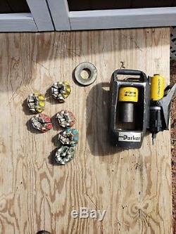 PARKER MINIKRIMP AIR/HYDRAULIC HOSE CRIMPER with ENERPAC PUMP, NUMEROUS DIES