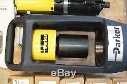 Parker MiniKrimp Bench Hose Crimping Machine Air Over Hydraulic Pump with DIES