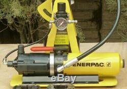 WEATHERHEAD T-462 HYDRAULIC HOSE CRIMPER, ENERPAC AIR/HYDRAULIC PUMP with 5 DIES